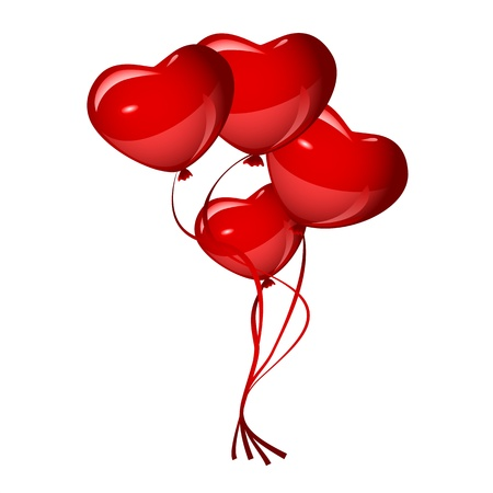 bright red heart balloons Stock Vector - 19749070