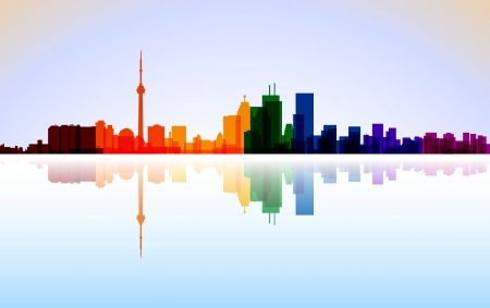 Colorful City Toronto panorama Vector