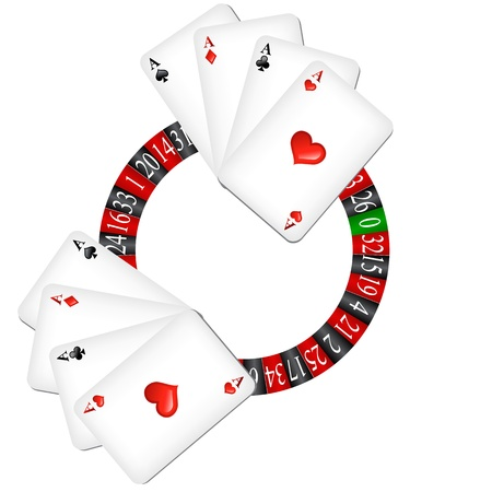 Roulette wheel with cards