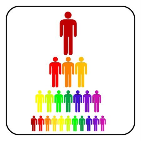 corporate hierarchy: colorato organizzativa aziendale gerarchia uomo d'affari, vettore Vettoriali