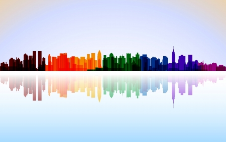 manhattan skyline: Colorful City New York panorama Illustration