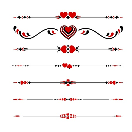 Valentines Line ornaments with hearts Stock Vector - 19749042