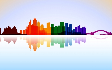 Colorful City Sydney panorama Vector