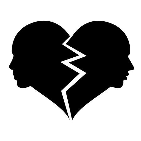 heart pain: love  woman and man in the broken heart Illustration