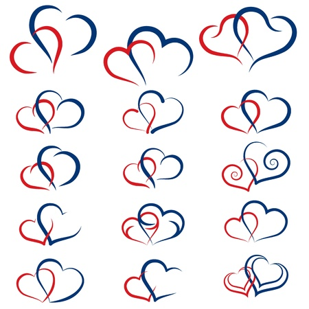 Set of symbols double hearts Vectores
