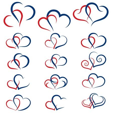 Satz von Symbolen doppelten Herzen Standard-Bild - 19749031
