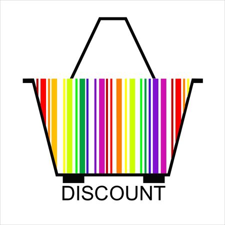 DISCOUNT barcode Shopping basket Vector