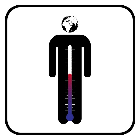 bisiness: eco man symbol with thermometer or business man under stress