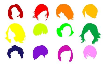 hair setting: Hair fashion set Illustration
