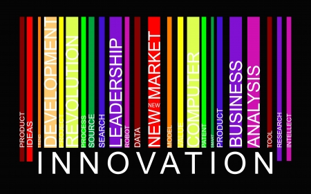 modernization: Innovation word concept in barcode with supporting words, modern, concept