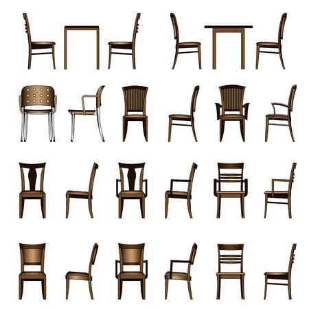 leather chair: Set di sedia moderna Vettoriali