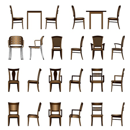 table set: Set of modern chair Illustration