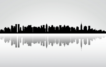 DOWN TOWN: Colorful City New York panorama Illustration