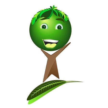 save earth: Cartoon happy tree - Save the earth