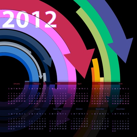 Colorful 2012 calendar design Stock Vector - 19776634