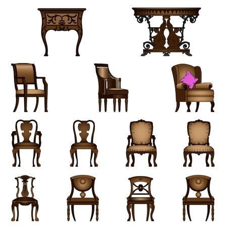 muebles antiguos: Juego de sillones y mesas de lujo Vectores