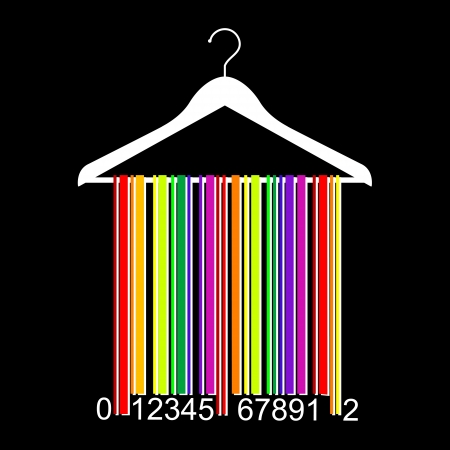 colorful barcode clothes hanger Vector