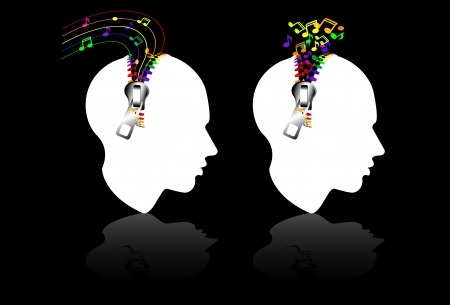 colorful profile head with note Vector