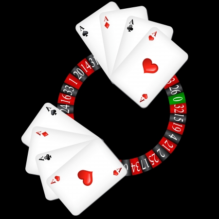 Roulette wheel with cards Vector