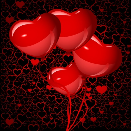 bright red heart balloons background Stock Vector - 19776700