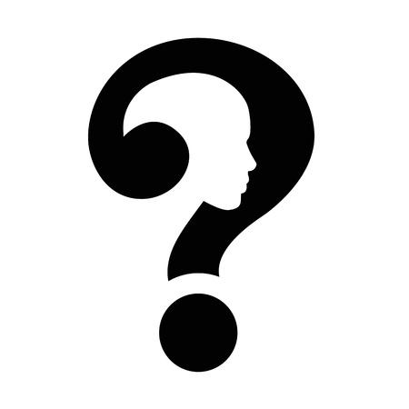 unsolvable: question mark human head symbol Illustration