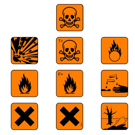 flammable warning: Set of chemicals hazard symbols Illustration