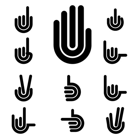 Hand Gestures and signals -set of vector icons for your design  Stock Illustratie