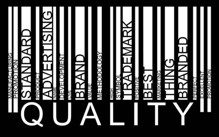 Quality word concept in barcode with supporting words, modern, concept Vector