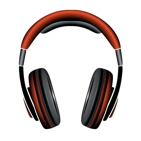 orange Simple Headphones in Silhouette Vector