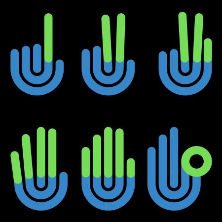 nulo: gestos con las manos contando s?mbolos de 1 a 5