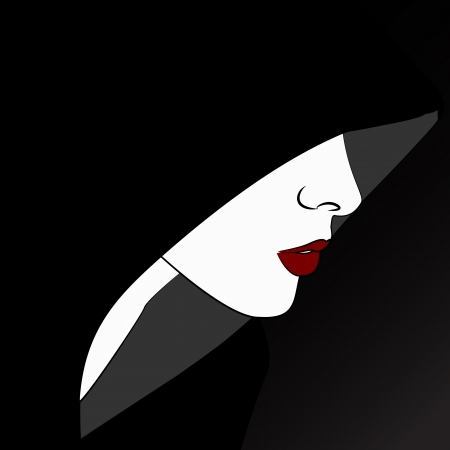 Sensual woman profile, fashion symbol