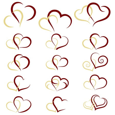 Set of symbols double hearts, vector Vector