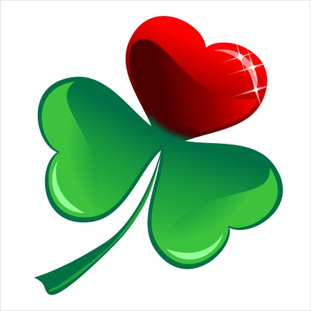 red clover: lucky heart Clover, isolated on white background, clipping path included