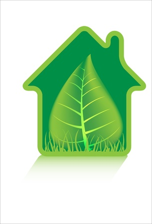 Eco green house, symbol Vector