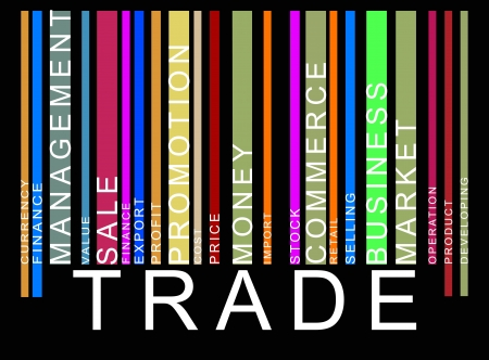 colorful trade text barcode Illustration