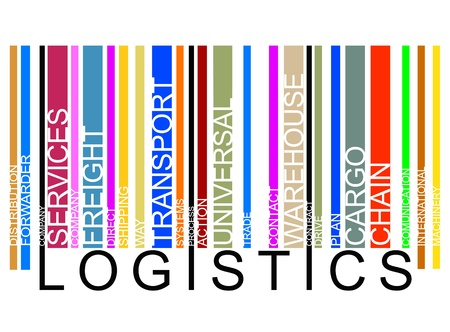 warehousing: colorful  LOGISTICS text barcode  Illustration