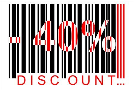 40: -40 percent discount, bar code