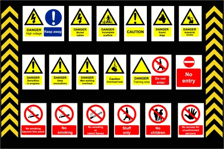 Construction Signs building site, construction environments, isolated by groups Illustration