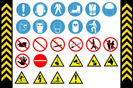 dangerous work: Assembly Point and First Aid Signs, isolated by group
