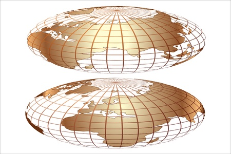 gold world globe Vector