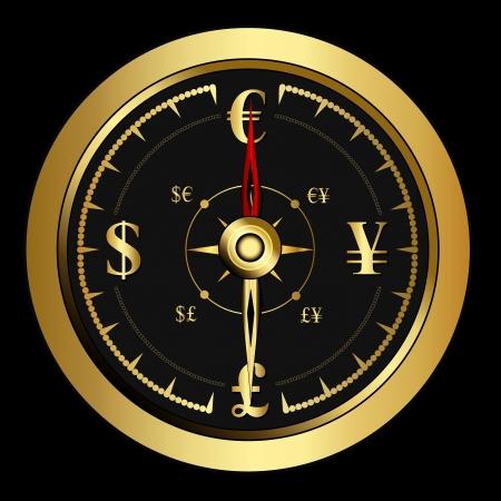 bright Money golden Compass with money symbols, vector  Illustration