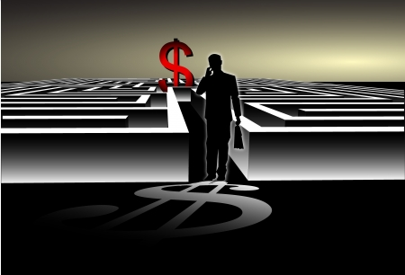 Businessman with Map trying to find his way in a Maze with USD Dollar Symbol Vector