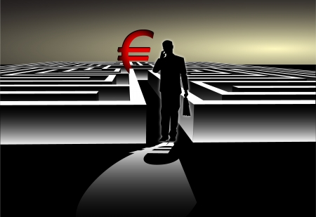 Businessman with Map trying to find his way in a Maze with Euro Symbol Stock Vector - 20044316