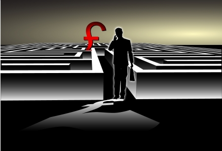 Businessman with Map trying to find his way in a Maze with UK pound Symbol Vector