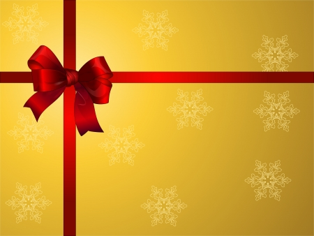 flue: golden Xmas gift with red bow Illustration