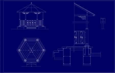 pavilion: architectural sketch of the Music Pavilion;
