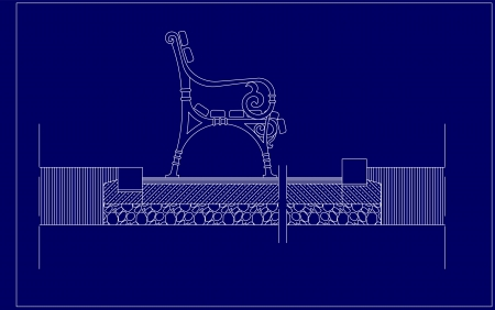 architectural sketch of the bench