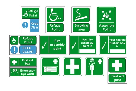 safety first: Assembly Point and First Aid Signs vector, isolated by group
