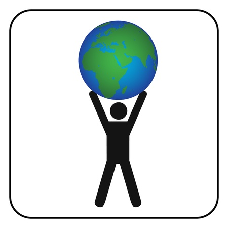Man holding the earth Stock Vector - 20240415