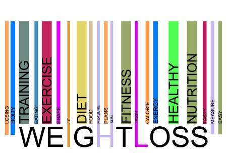 perte de poids text barcode, vector